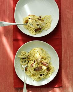 Spaghetti Carbonara A carbonara sauce is typically made with bacon, eggs, and cheese. We've added a little half-and-half for a silky texture. | Martha Stewart