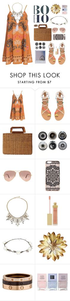 """Gold + Boho"" by thenewgirl3 ❤ liked on Polyvore featuring Kiss The Sky, Polaroid, Salvatore Ferragamo, Ella Doran, Ray-Ban, New Look, ABS by Allen Schwartz, AERIN, Lipsy and Cartier"