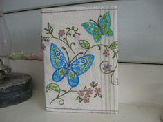 Hand Embroidered Journal With Butterflies by BettyAliceBlue, $75.00