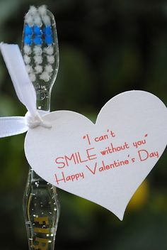 "Perfect to hand out in a classroom instead of candy! You could also write, ""You make me smile, Valentine!"""