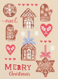 Louise Anglicas - LAS_merry Christmas Gingerbread Cookies Decorations Gingham Bow