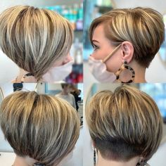 Pixie Bob Hairstyles, Bob Hairstyles For Thick, Mom Hairstyles, Short Bob Haircuts, Hairstyles With Undercut, Short Summer Haircuts, Short Pixie Bob, Short Bob With Undercut, Undercut Bob Haircut