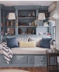 Built in day bed and bookshelves. Benjamin Moore Van Courtland Blue.