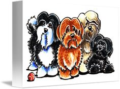 """Four+Havanese""+by+Off-Leash+Art™,++//+Four+colors+of+Havanese+subject+drawing+by+Andie,+illustrator+and+creator+of+Off-Leash+Art.+//+Imagekind.com+--+Buy+stunning+fine+art+prints,+framed+prints+and+canvas+prints+directly+from+independent+working+artists+and+photographers."