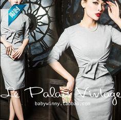 4ee6b8c2c37 Le palais vintage 50s elegant gray wool 3 4 sleeve wiggle pencil dress pinup  office lady dresses plus size vestidos