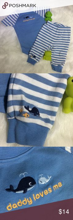 """Infant Boy 2 piece set. """"Daddy Loves Me"""" Nautical whale short sleeve onesie and pants striped cobalt blue and white pale orange lettering. Size 3-6 mths. Perfect little man outfit. Gymboree Matching Sets"""
