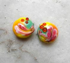 Lampwork Beads Bright Summer Fashion Glass by CandanLampworkBeads