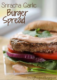 Sriracha Garlic Burger Spread   DizzyBusyandHungry.com - Easy recipe to add a delicious zing to your burgers or to any sandwich! #burgers #condiment #sriracha
