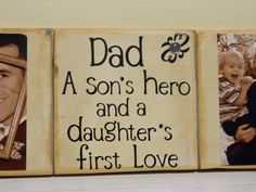 Dad a sons hero and a daughters first love, fathers day gift, first fathers day, gift for dad, dad gift from baby. Baby Gifts For Dad, Unique Gifts For Dad, Great Father's Day Gifts, Gifts For Father, Diy Father's Day Crafts, Father's Day Diy, Fathers Day Crafts, Fathers Day Sayings, Kids Crafts