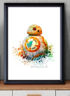 Star Wars BB-8 Droid Watercolor Art Silhouette by GenefyPrints