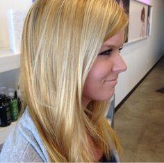 Blonde with strawberry blonde lowlights