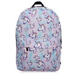 Unicorn Printed Backpack ($18) ❤ liked on Polyvore featuring bags, backpacks, purple bag, unicorn bag, daypack bag, purple backpack and rucksack bags