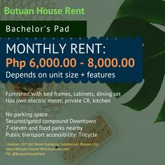 Bachelor's Pad For Rent in Butuan City  Furnished with bed frames, cabinets, dining set Has own electric meter, private CR, kitchen  RENT: Php 6,000 - 8,000/month (depends on unit size + features)  1 month advance + 1 month security deposit  Contact #: 0949-797-81-23 Bed Frames, 1 Month, Public Transport, Dining Set, Philippines, Cabinets, Electric, The Unit, City