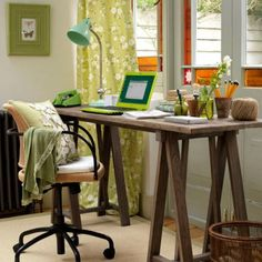 Such an easy and cute desk, 2 saw horses and a table top or use an old door