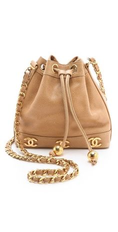 $2970 WGACA Vintage Vintage Chanel Caviar Bucket Bag http://fashionbagarea.blogspot.com/ We can spot a chanel clutch from a mile off. Those golden studs are set perfectly against the chic tan shade.$159 Want!