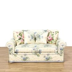 This Loveseat Is Upholstered In A Blue Floral Pattern. This Cottage Chic  Style Sofa Has Rolled End Arms, Comfortable Cushions, Matching Pillows, ...