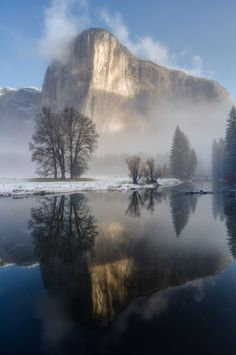 """El Capitan Reflection ~ Morning Mist at Yosemite National Park, California #photgraphy by Robbie Shade"""