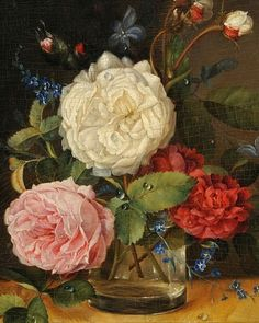 stilllifequickheart:    Unknown (Dutch)  Still Life with Peonies, Roses, and Forget-Me-Nots  19th century