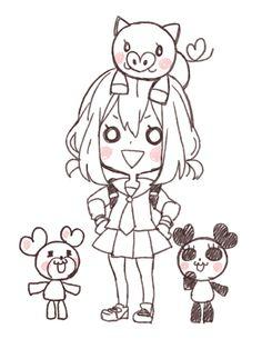 Setoguchi Hina ヤマコ #honeyworks #music #character Lineart Anime, Anime Chibi, Anime Art, Otaku, Koi, Honey Works, Gamers Anime, Anime Poses Reference, Cute Chibi