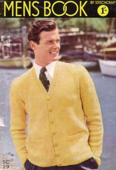 Before making it big as The Saint and James Bond, a fresh-faced Roger Moore used to earn a crust by modelling knitwear. He was rather good at it, actually. Check out The Man with the Golden Cardigan pose on this Mens Book by Stitchcraft cover from the 1950s.