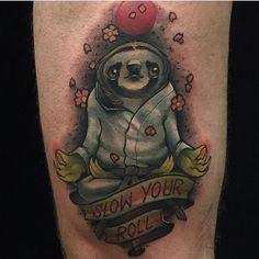Jiu Jitsu Sloth by @eddiestacey at @inkanddaggertattoo in Roswell Georgia. #jiujitsu #sloth #eddiestacey #inkanddagger #inkanddaggertattoo #roswell #georgia #tattoo #tattoos #tattoosnob
