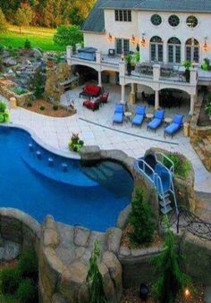 Pool area and patio from walkout basement backyard ideas for Basement swimming pool ideas