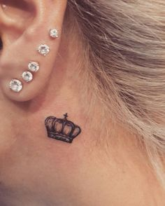 crown tattoo behind ear