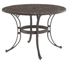48-inch Round Outdoor Patio Table in Rust Brown Metal