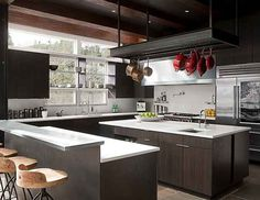 This is a dream kitchen because it is modern, there is tons of counter space and lots of storage.