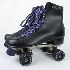 1a4a79fa20a0 Vtg Official Roller Derby Brand Black Rink Skates Size 8 Urethane Wheels   RollerDerby
