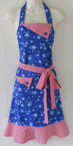 Stars and Stripes Apron  Red White and Blue  by Eclectasie on Etsy