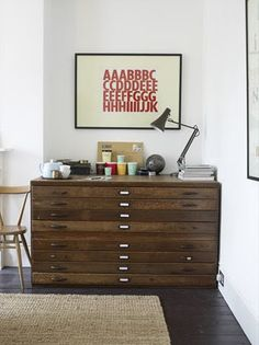 Flat files. I LOVE these. I hate those ugly, gray, metal cabinets in my office. UGH.