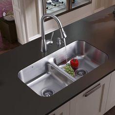 Vigo Farmhouse Satin-Finish Stainless-Steel Kitchen Sink/Faucet/Grid ...