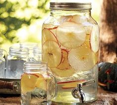 Shop mason jar drink dispenser from Pottery Barn. Our furniture, home decor and accessories collections feature mason jar drink dispenser in quality materials and classic styles. Mason Jar Drink Dispenser, Mason Jar Drinks, Mason Jar Wine Glass, Beverage Dispenser, Water Dispenser, Drink Holder, Infused Water Recipes, Fruit Infused Water, Infused Waters