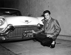 Elvis and his new 1957 Cadillac Eldorado Seville