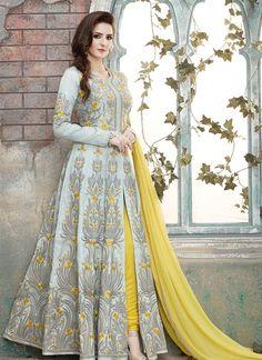 Grey Georgette Long Length Salwar Suits With Embroidered, Lace Works. Order #LongLengthSalwarSuitsOnline