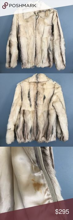 Vintage Jin Zhao Fur Coat-Good Condition This lovely vintage fur coat is in great condition, cropped to the waist, beige/blonde with hints of black, has pockets, a beige blonde silk liner (some stains-see images), and is possibly mink or rabbit in a medium size. jin Zhao Jackets & Coats