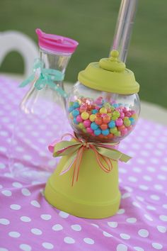 Homemade Gumball Machines for centerpieces :) By Samantha Prather