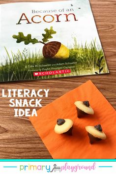 Because of an acorn, a tree grows, a bird nests, a seed becomes a flower. This is a perfect book to illustrate the vital connections between the layers of the ecosystem. The book makes it easy for little learners to understand the cycle and how everything works together. Make sure to check out our snack idea and free printable to go along with the book. #literacysnack #booksnack #acorns #kindergarten