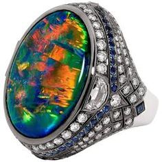 Certified 25.10 Carat Lightning Ridge Black Opal Blue Sapphire Diamond Ring