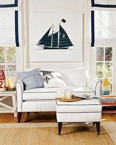coastal living nautical home decor Beach Cottage Style, Beach Cottage Decor, Coastal Style, Coastal Decor, Nantucket Style, Coastal Cottage, Coastal Homes, Home Interior, Interior Design