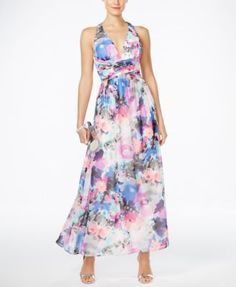 SL Fashions Floral-Print Halter Gown | macys.com Ooooh! Oooh! Love the floral print! Love the halter style! Love the waltz length! Love the colors! What do you think??? @krystalspiess @floralartistry