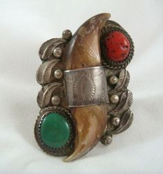Antique Native American Bear Claw, Turquoise & Coral Sterling Silver Ring