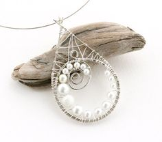 Wire Spiral Guitar String Necklace - Wire Wrapped Teardrop Pendant with Pearls - Recycled Materials