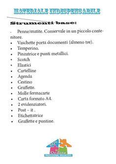 Lista materiale base per ufficio