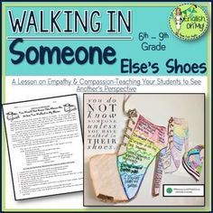 Empathy & Compassion, Back to School Activity-Walking in Someone Else's Shoes: This activity focuses on COMPASSION & EMPATHY, a continuous, gentle reminder of how everyone needs to spend more time thinking and understanding others. Teaching Empathy, Teaching Kindness, Teaching Resources, Classroom Resources, Teaching Tools, Teaching Punctuation, Teaching Ideas, Classroom Ideas, Counseling Activities