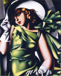 Mädchen in grün Kunstdruck,  Tamara de Lempicka