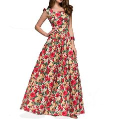 9a9759b69 spring/summer women's dresses printing party dress popular sleeveless  square collar sexy long elegant pleated