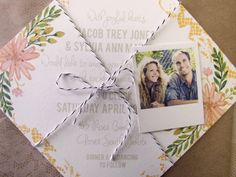Spring, Romantic Floral Wedding Invitation with polaroid tag by FourThingsbyCaBlue on Etsy, $98.00