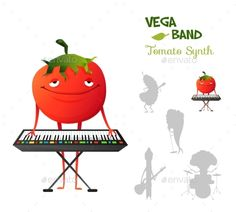Smiley Tomato Playing Synth